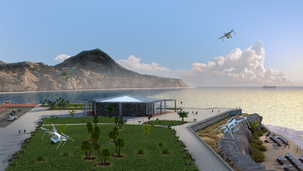 Public Aquarium Exterior 3D Render