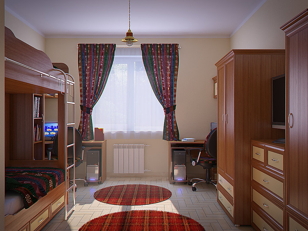 3d rendering for the children room view no 1