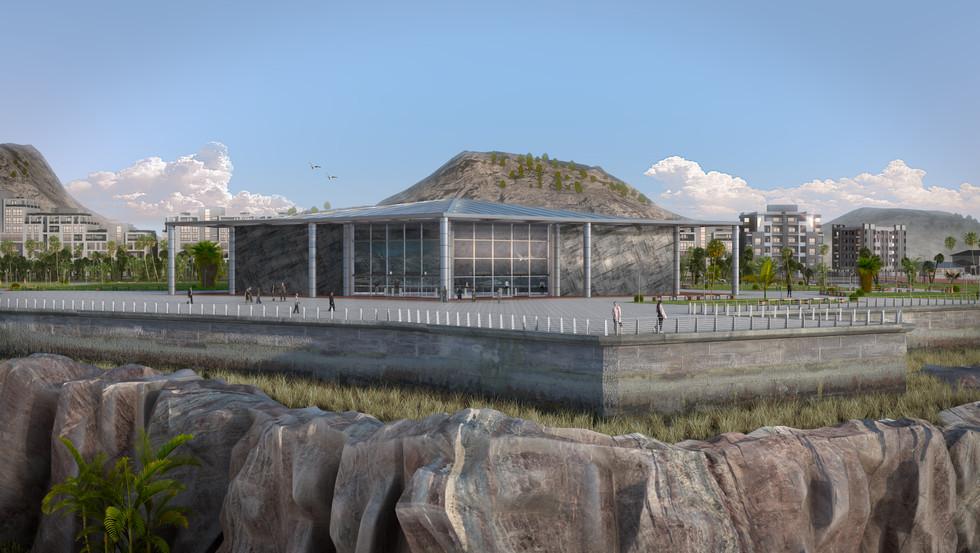 Public aquarium exterior 3D render no 6.