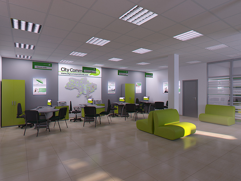 Interior 3D Rendering for the bank