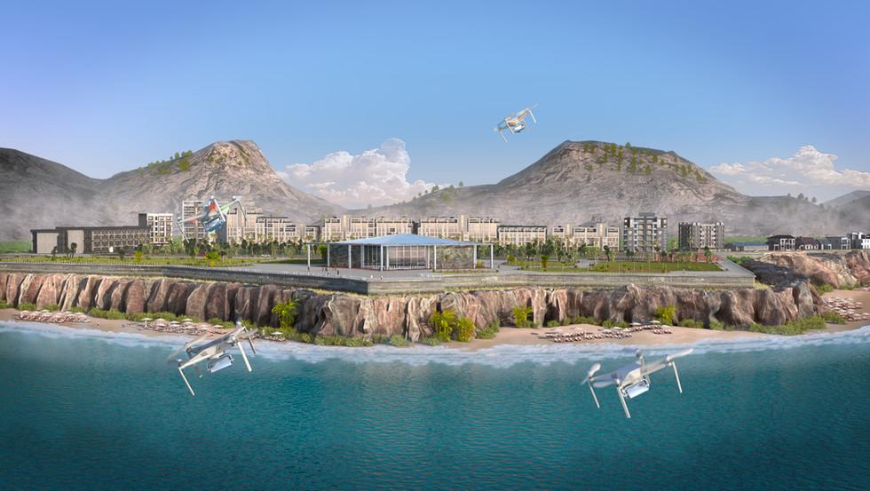 Public aquarium exterior 3D render no 1.
