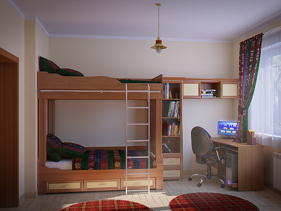 3d rendering for the children room view no 3