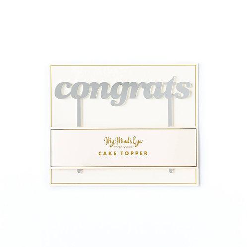 Basic Congrats Cake Topper - Silver