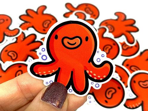 Mini Red Octopus Vinyl Sticker