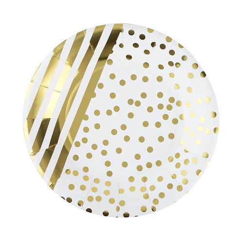 """Gold Striped and Dot 7"""" Paper Plate Set of 8"""