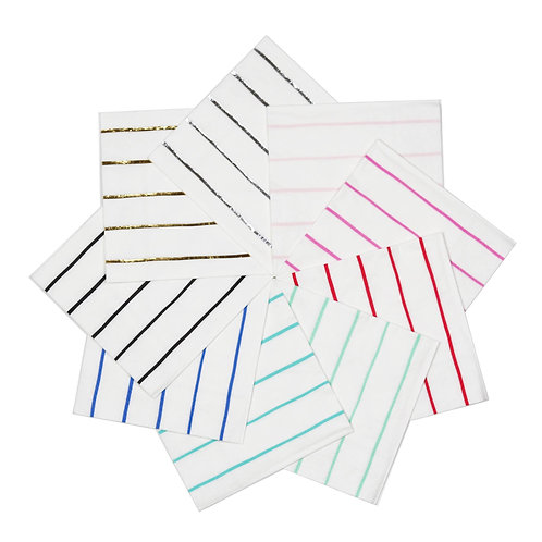 Frenchie Striped Petite Napkins (Pack of 16)