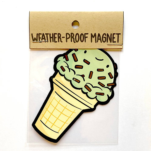 Mint Chip Ice Cream Cone Weatherproof Magnet
