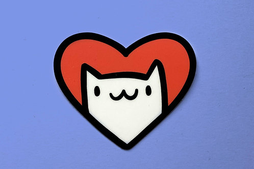 Cat Heart Vinyl Sticker