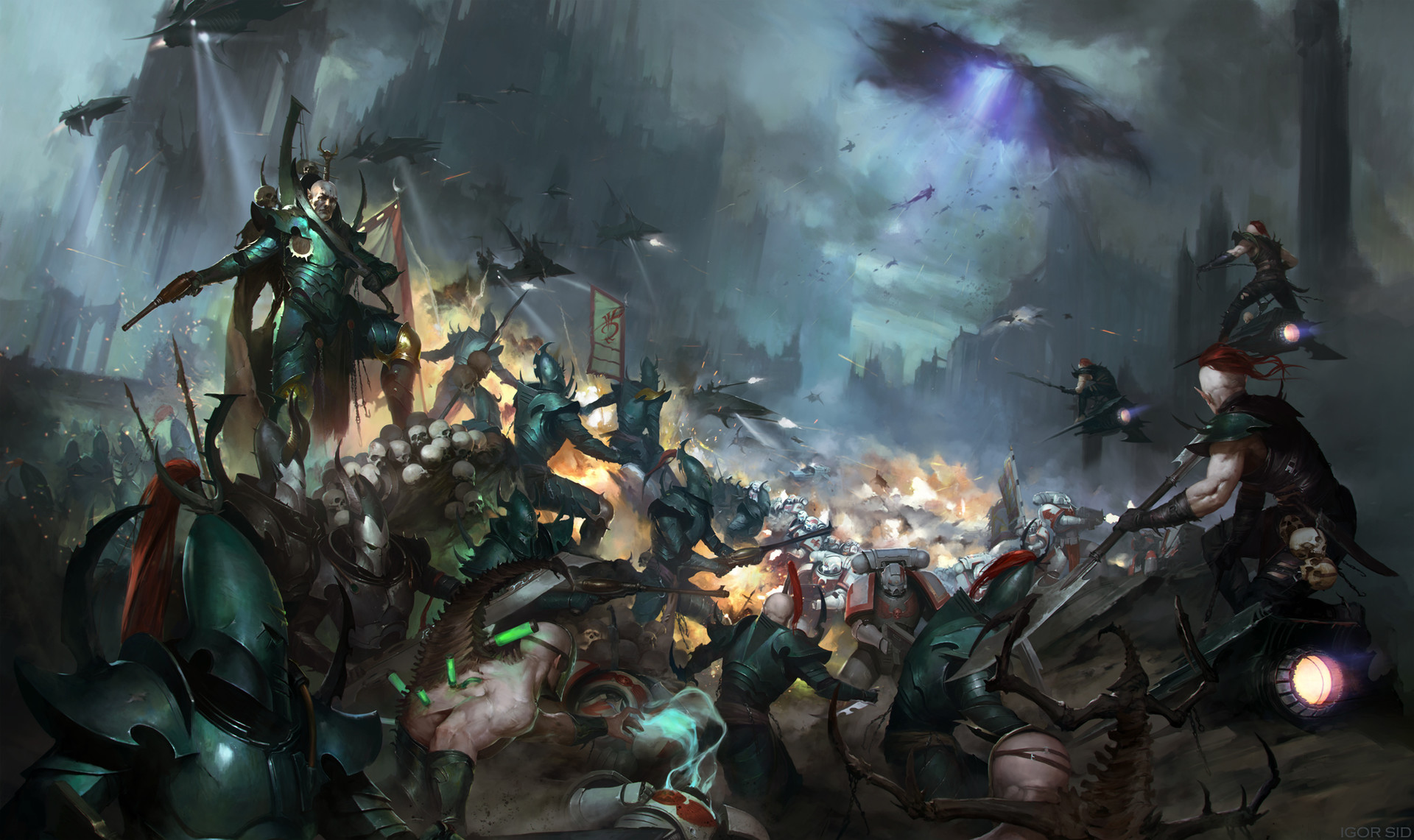 Dark Eldar in battle the White Scars