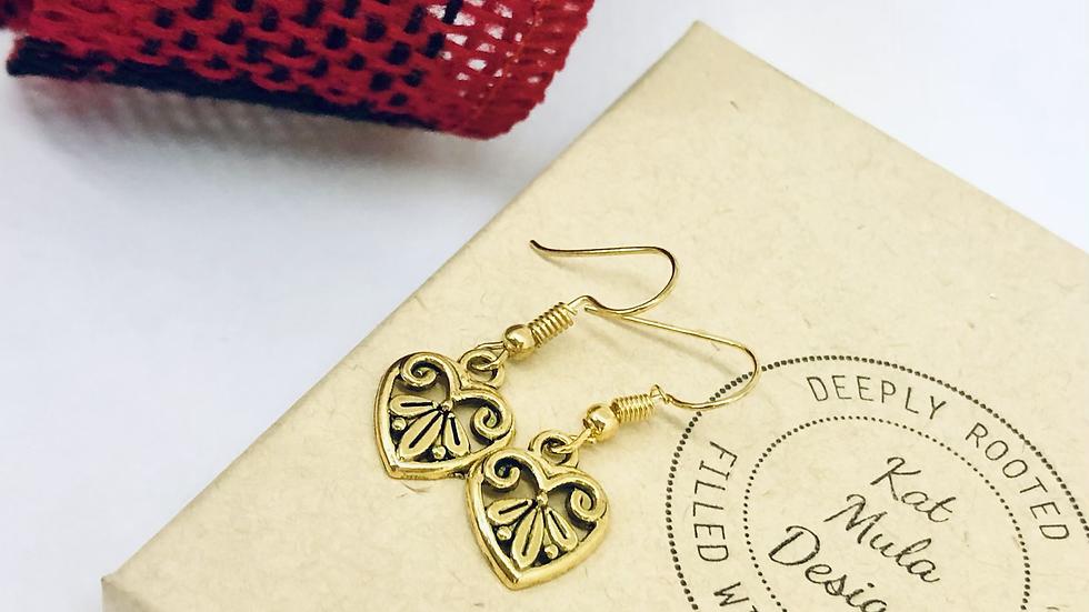 Scroll Heart Earrings