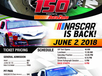 NASCAR is BACK! The Memphis 150 Presented by AutoZone is June 2nd!
