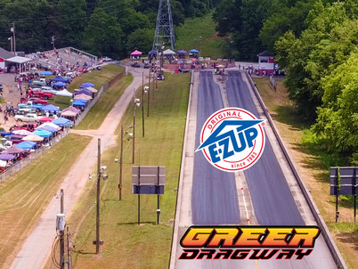 """Greer Dragway features E-ZUp """"Fastest Shelter"""" and Melling Banners"""