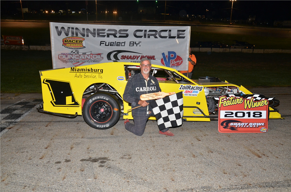 Mike Carroll of Cedarville won the Biggins Small Engine Repair Modified  feature.