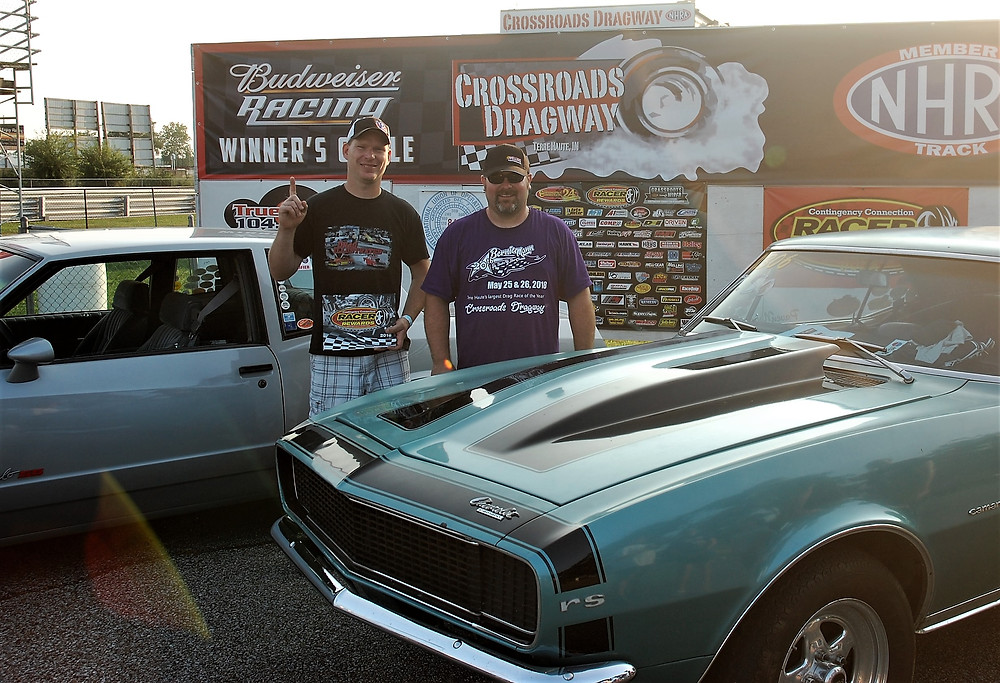 Chad Eaton, left, from Paris, Indiana, won the Sportsman Class and Racer Rewards at Crossroads Dragway. He is pictured with Chris Walker, runner-up in the Sportsman Class.
