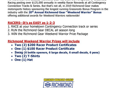 Richmond Gear Kicks Off Weekend Warrior Promotion