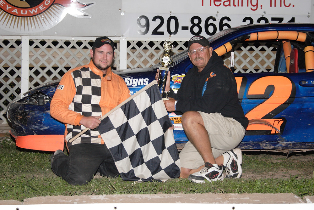 LYNN'S SERVICE CENTER IMNA SPORT COMPACT DIRT DEVILS  #12  Jordan Klemmer is joined by his dad after winning his second feature of the season Friday night at the Speed Zone.