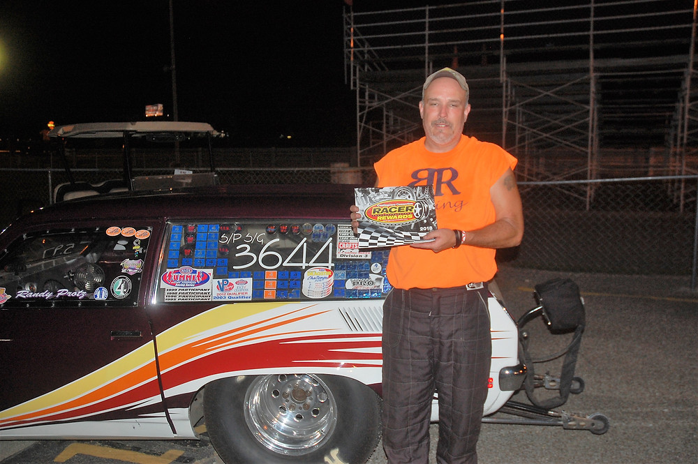 Randy Protz won the Super pro division at Crossroads Dragway and was awarded Racer Rewards Aug. 4.
