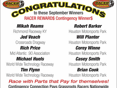 Racer Rewards Winners - September