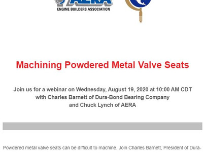AERA Webinar: Machining Powdered Metal Valve Seats
