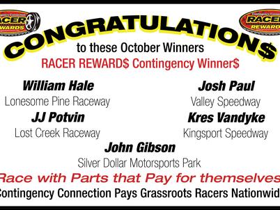 Racer Rewards Winners - October