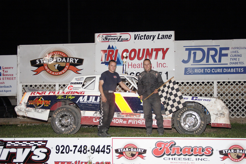 NOLTE'S AUTO REPAIR AND TOWINT STREET STOCKS  #1  Brandon Ross (L) is joined by twin brother Jordan, after winning his first career division feature at the Speed Zone Friday night.