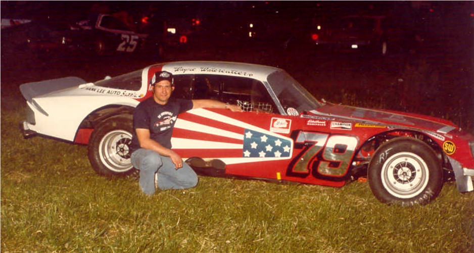 Sidney driver Wayne Watercutter with a car built by local car builder Denny Shatto. Watercutter has since retired and Shatto passed in 2006. Shady Bowl will honor the memory of Shatto Saturday 7/15. Photo Courtesy of Issacs Photo