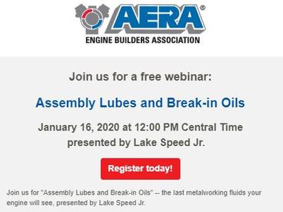 AERA Webinar: Assembly Lubes and Break-in Oils