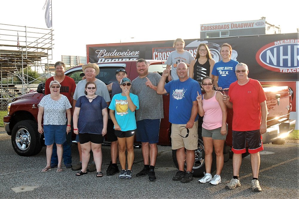 Gaige Brenton, third from left, from Rosedale, Indiana, won the combined High School and Junior Street Class and Racer Rewards at Crossroads Dragway.