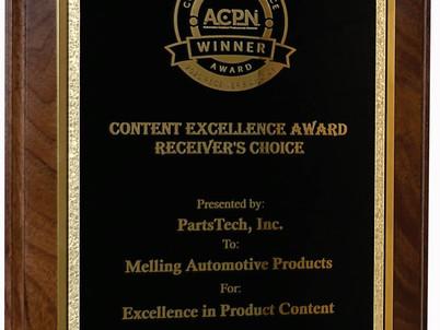 Parts Tech, Inc. awards Melling Excellence Award