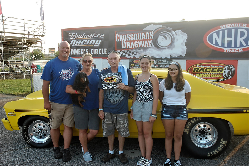 John Blake, center, from Terre Haute, Indiana, won the Super Pro Class and Racer Rewards at Crossroads Dragway.