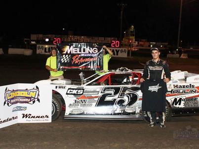 Lincoln Speedway Pro Late Model Winner Driver #25 Dakota Ewing