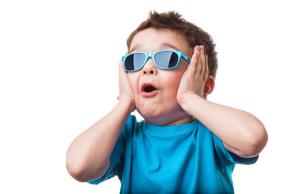 Cheerful little boy in sunglasses expres