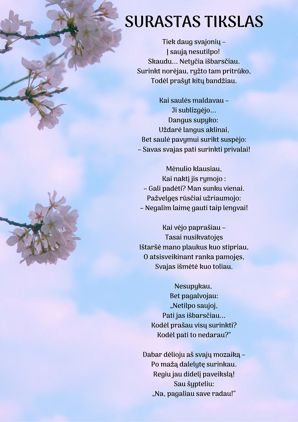eilėraštis, obelų žiedai