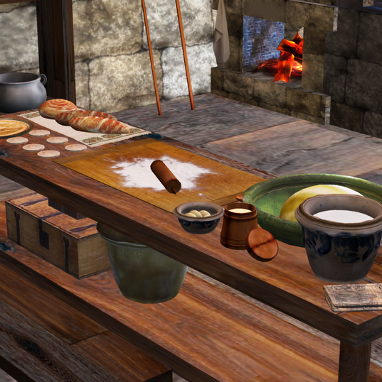 Table in the castle kitchen.