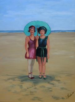 Vintage Beach Series: Parasol Girls #3