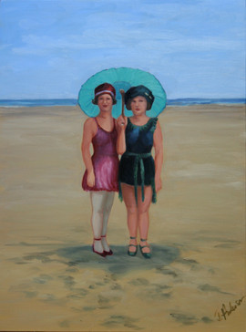 Vintage Beach Series: Parasol Girls #3