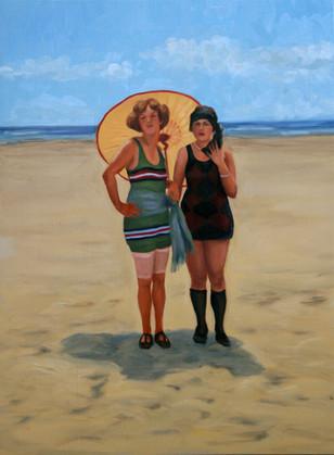 Vintage Beach Series: Parasol Girls #1