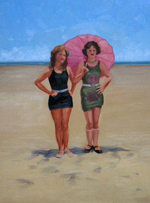 Vintage Beach Series: Parasol Girls #2