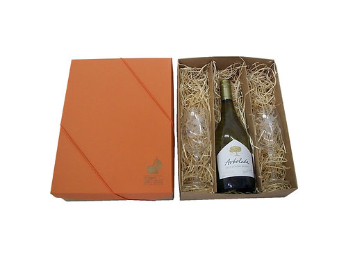 Caixa Kraft Artesanal para Vinho e 2 Taças