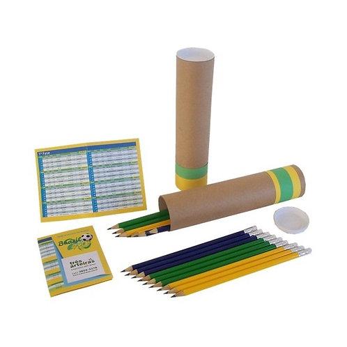 Lápis Borracha Verde Amarelo em Estojo Tubular