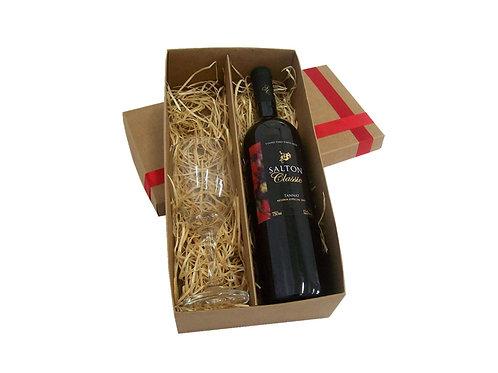 Caixa Kraft Para Vinho e Taça