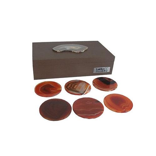 Kit de Porta Copos e Caixa com Pedra Brasileira