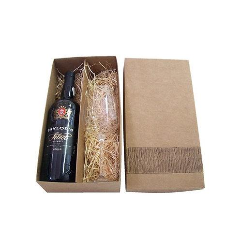 Caixa Kraft com Detalhe Artesanal e Vinho do Porto