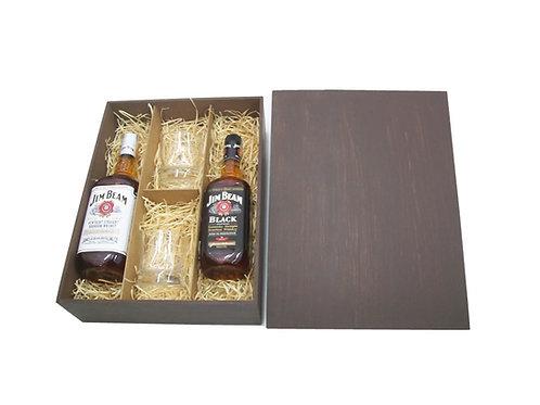 Kit Whisky Jim Beam em Caixa de Madeira de Reflorestamento