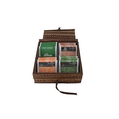 Caixa de Chá com Divisória Revestida com Fibra de Bananeira
