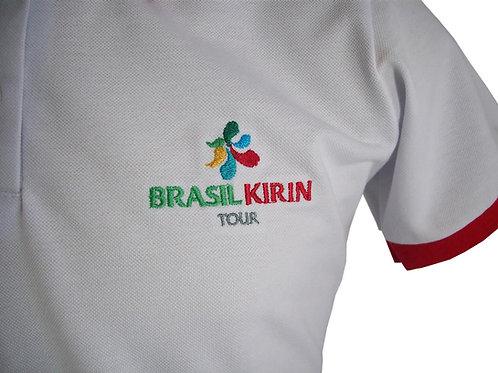 Camisa Polo Branca com Gola Vermela