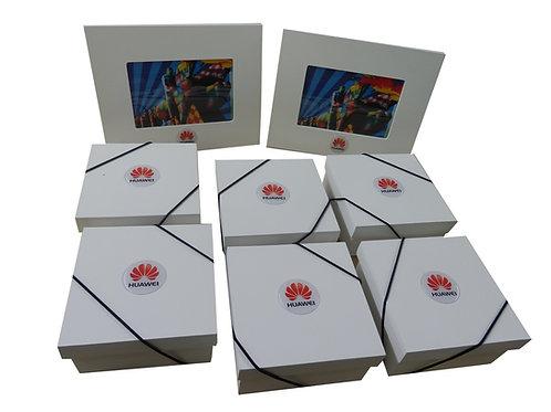 Caixa e Porta Retrato de Madeira Huawei