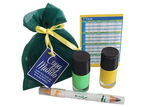 Kit Torcedor com Esmalte e Lápis Verde e Amarelo