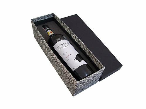 Caixa Para Vinho Revestida com Tecido Ecológico