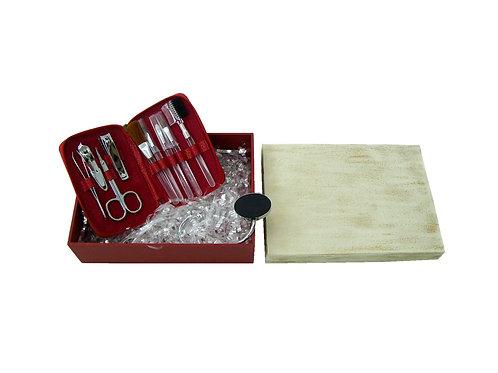 Kit Manicure e Suporte de Bolsa em Caixa de Madeira Reflorestada